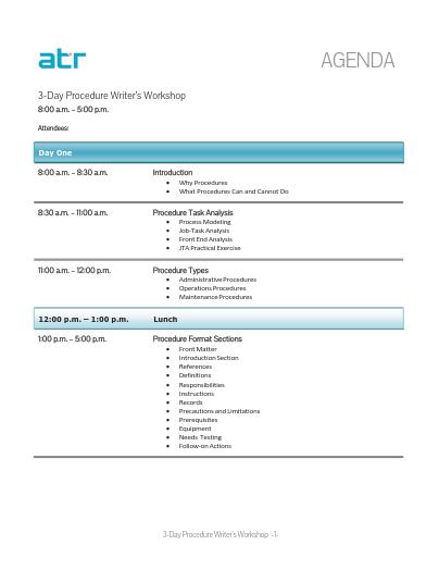 sample training agenda